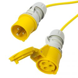 110v 3x1.5mm 16 amp Arctic Yellow Extension Cable. Site Hook Up Trailing Lead. TOUGH 50m