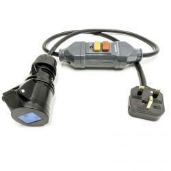 1m RCD Fly Lead to 16amp Socket. Safety Cable. Non-Latching. H07RN-F Tough Rubber