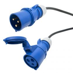 32 amp Arctic Blue Extension Cable. Site Hook Up Trailing Lead. TOUGH 3x6mm