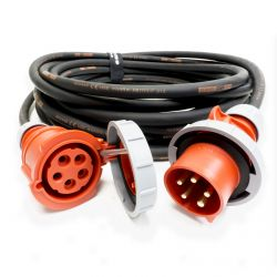 32amp Red 3 PHASE Events CEEform Commando Power Cable. (5x10mm) 3P+N+E 400V. H07RN-F