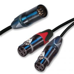 5 Pin Male XLR to Dual 3 Pin Female XLRs. Stereo Y Lead. Balanced Cable. (Variation Leads)