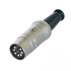 7 Pin Din Connector. Rean NYS323. Silver Body, Silver Pins