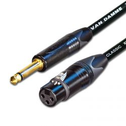 Van damme Gold Neutrik Jack to Female XLR Black