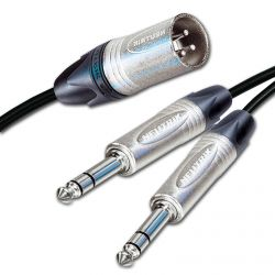 "Dual Balanced 1/4"" TRS Jacks Summed into a Single Male XLR"