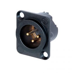 Neutrik NC3MD-LX-B Male 3 pin XLR Chassis Panel Mount. Gold Contacts