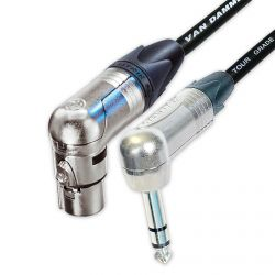 Van Damme & Neutrik Angled Jack to Angled Female XLR Lead.