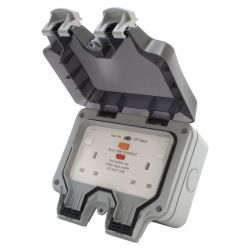 BG WP22RCD Weatherproof 13A 2 Gang Latching RCD Double Switched Outdoor Socket.