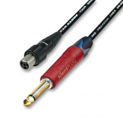 Peavey and Shure GLXD Wireless System Lead for Beltpacks. Silent Straight Jack.