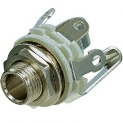 REAN / Neutrik Stereo TRS Female 1/4-Inch Jack with Nut and Washer, Nickel Finish