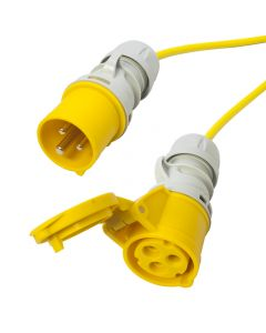110v 3x2.5mm 16 amp Arctic Yellow Extension Cable. Site Hook Up Trailing Lead. TOUGH 50m