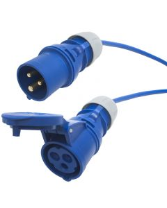 Tough 3x1.5mm 16 amp Arctic Blue Extension Cable. Caravan Hook up Lead. 240v Plug Socket