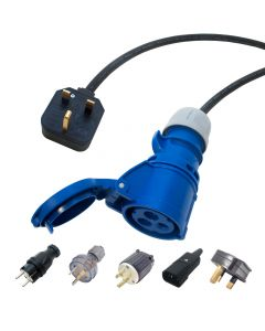16 amp to UK Plug H07rn-f Tough Rubber Hook up Lead. PCE Shark 16a socket cable. EU, UK, AUS, USA plugs.