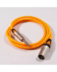 2 Meters Van Damme Instrument Cable, Neutrik Timbre Jack to Gold Straight Mono Jack