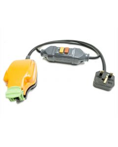 1m RCD Fly Lead to 1 gang IP54 Socket. Safety Cable. Non-Latching. H07RN-F Tough Rubber