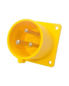 32amp 110v 2P+E IP44 Yellow Site Straight Flush Panel INLET Male. 3 Pole PCE (623-4)