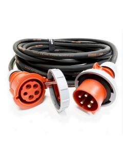 32amp Red 3 PHASE Events CEEform Commando Power Cable. (5x6mm) 3P+N+E 400V. H07RN-F