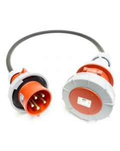 32amp to 63amp Red 3 PHASE Events CEEform Commando Adapter Cable. (5x10mm) 3P+N+E 400V. H07RN-F