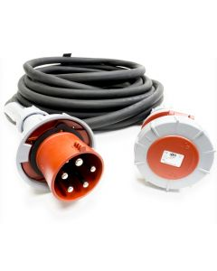 63amp Red 3 PHASE Events CEEform Commando Power Cable. (5x16mm) 3P+N+E 400V. H07RN-F Rubber