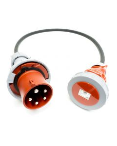 63amp to 32amp Red 3 PHASE Events CEEform Commando Adapter Cable. (5x10mm) 3P+N+E 400V. H07RN-F