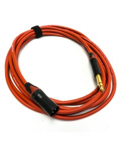 5m Red Van Damme Balanced Cable. Neutrik Gold 1/4 inch TRS to Male XLR. RED BOOTS