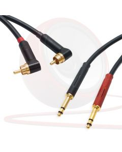 Pseudo Balanced Angled Phono RCA to TT Bantam Jack Lead (PAIR). Neutrik Cable
