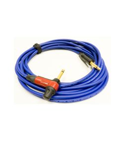 26cm Van Damme White Microphone Cable. TRS Stereo Gold Straight to Right Angled Jacks.
