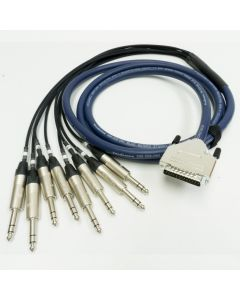 10m Van Damme Black Starquad Microphone Cable, Neutrik Right Angle to Straight Black and Gold TRS Jacks.