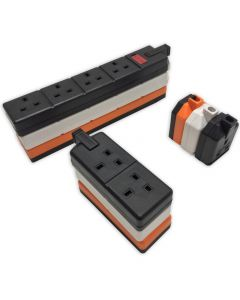 HEAVY DUTY Permaplug 1,2 & 4 Gang trailing Socket. ELS13W-01. Black, White or Orange.