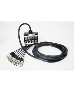 8 way stage box, 6m Sommer Mistral Cable, Female to Male Neutrik XLR Connectors
