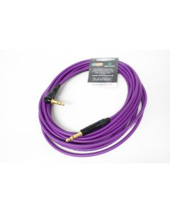 8m Van Damme Purple Microphone Cable, Neutrik Black and Gold TRS Jacks, Straight to Right Angle.