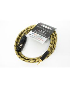 1.5m Vintage Sommer Tweed Microphone Cable, Black and Gold Switchcraft Mini Jack to Neutrik Female XLR (STEREO WIRING IN XLR)