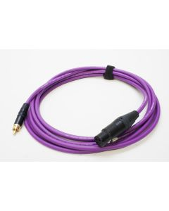 4m Van Damme Purple Instrument Cable, Rean Gold and Black RCA to Neutrik 3 Pin Black and Gold Female XLR (Stereo Wiring)