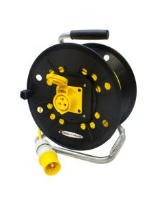 Industrial 16 amp 110v Yellow Site Extension Reel. Ceeform Plug to Sockets Oulet