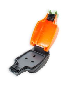 IPS 13A Weatherproof In-Line Socket IP54. Orange Outdoor 1-Gang, 13Amp Trailing.