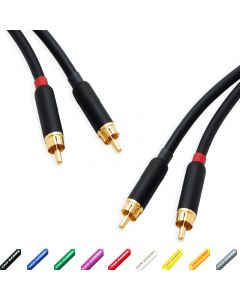 Star-Quad RCA Stereo Pair. Twin Phono. Van Damme Audio Cable. 2 Gold Plated RCAs