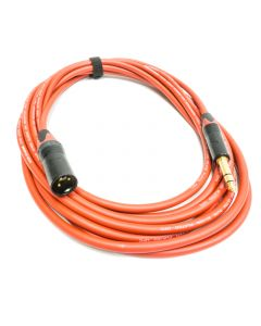 5m Balanced TRS Jack to Male XLR Lead. Neutrik and Van Damme Red Cable, Red Markings