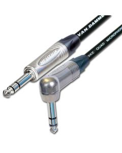 Van Damme STARQUAD Balanced or Stereo Angled ¼ Inch TRS Jack Lead. Neutrik NP3RX & NP3X