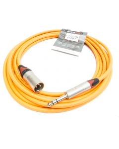 6m Orange Male XLR to TRS Jack Lead. Van Damme Starquad Cable. Red Boots