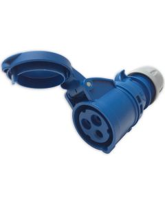 16amp 240v 2P+E Ceeform Cable Mount Blue Female Socket. 3 Pole. PCE (213-6)