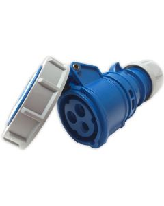 16amp IP67 Rated 240v 2P+E Ceeform Cable Mount Blue Female Socket. 3 Pole. PCE (2132-6)