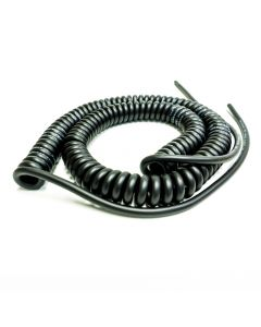 Van Damme Curly Guitar Cable. Mono TS Lead. Flexible Shielded. 70cm > 2.5m Extended Length