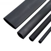 1m Black Single Wall Heatshrink. 2:1 Ratio 3mm to 39mm Unshrunk Overall Diameter