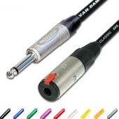 Guitar Instrument Extension Lead. Male Jack to Female Socket. Van Damme cable.