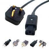 Premium IEC Kettle Mains Lead. UK Plug to C13. Flexible Cable, Long and Short