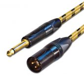 Vintage Sommer Guitar Lead. Unbalanced Gold Neutrik 6.35mm TS Jack to Mono Male XLR, Balanced Microphone Cable