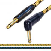 Sommer SC Classique Vintage Guitar Cable. Gold Angled Mono Jack to Jack Lead.